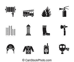 fire-brigade equipment icon - Silhouette fire-brigade and...
