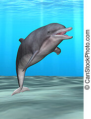 Smiling Dolphin - 3D digital render of a friendly smiling...