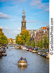 Prinsengracht canal in Amsterdam - Western church and...