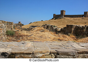 Genoese fortress - Ruins of ancient fortress wall and tower