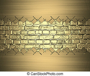 Gold brick wall with abstract frame. Design template. Design...