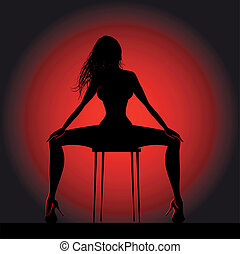 Girl silhouette - Striptease girl silhouette on chair