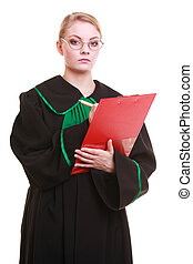 Woman lawyer writing on clipboard - Law court or justice...