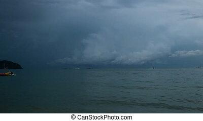 Storm Behind Island 1 - Stormy sea behind Rebak Island off...