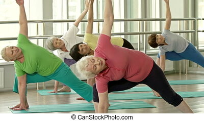 Revolved Side Angle Pose - Female adults executing Parivrtta...