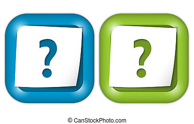 set of two icons with paper and question mark