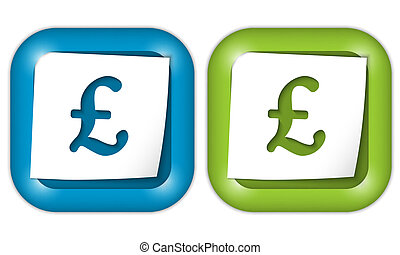 set of two icons with paper and pound sign