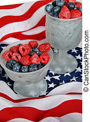 Fresh Fruit - Blueberries and raspberries on a flag