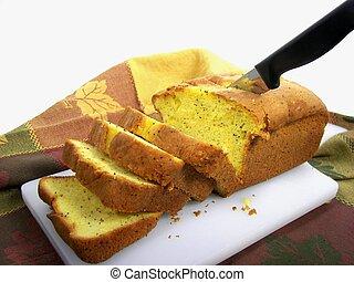 Poppyseed Loaf - Fresh poppyseed bread on cutting board.