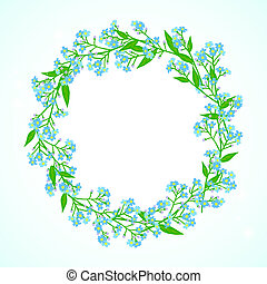 Card with forget me not flowers wreath - Vector floral...