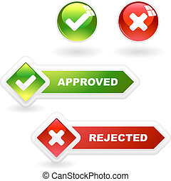 Approved and rejected icon set for design.