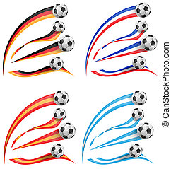 germany, greece, france, spain flag set with soccer ball