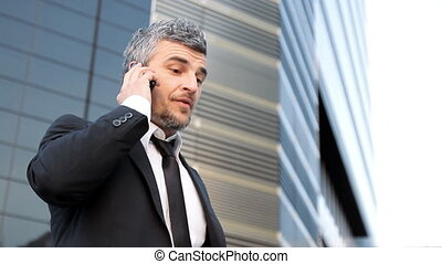 successful business man phone - business man happy talking...