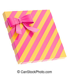 Wrapped gift box with a bow and rib