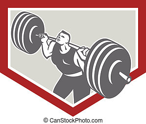 Weightlifter Lifting Barbell Shield Retro - Illustration of...