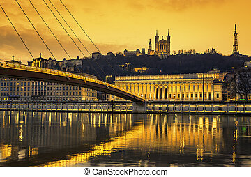 View of Saone river at Lyon at sunset