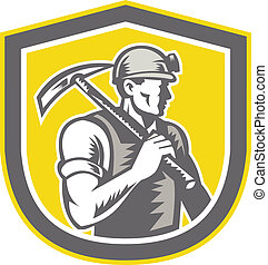 Coal Miner Pick Axe Shield Retro - Illustration of a coal...