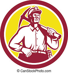 Coal Miner Hardhat With Pick Axe Front Circle - Illustration...