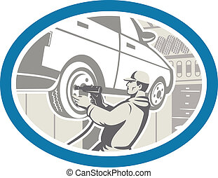 Mechanic Changing Car Tire Repair Retro - Illustration of an...