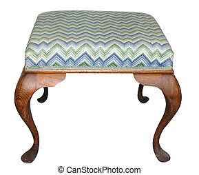 Antique Tapestry Stool isolated with clipping path