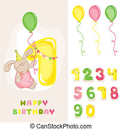 Baby Bunny Birthday Card - with Editable Numbers -...