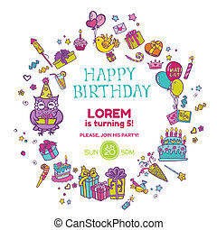 Birthday Invitation Card - with place for your text -  in vector
