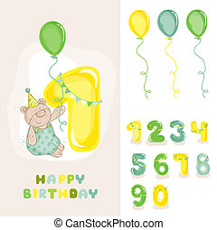 Baby Bear Birthday Card - with Editable Numbers -...