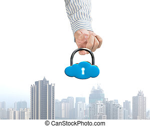 Hand hooking cloud shape lock with city view below