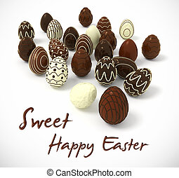 Chocolate Easter eggs on white background - Sweet Happy...