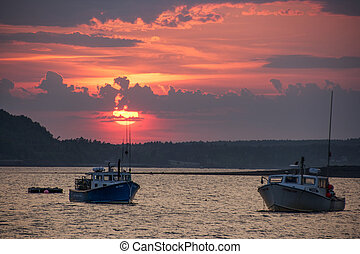 Sunset Lake - The sunsetting over the bay in Maine