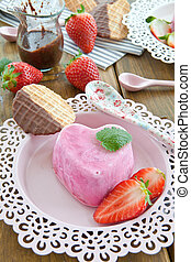Ice cream in a heart shape - Strawberry ice cream in a heart...
