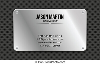 Metallic grunge business card