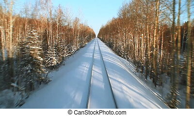 Railway Tracks In The Winter Snow