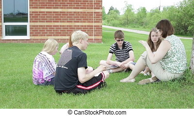 Teaching class outside outdoors