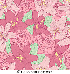 seamless background with pink lily and roses . - Beautiful...