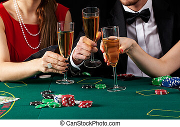 Casino champagne toast - Casino players proposing a toast...