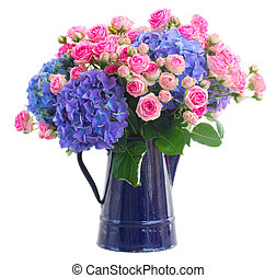 bouquet fresh pink roses and blue hortensia flowers -...