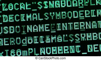 HTML codes - Close up of HTML Codes on LED Screen