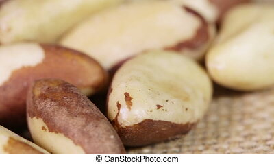 Macro Brazil nut - Handfuls of Brazil nut on rotating...