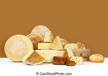 various types of cheese with bread