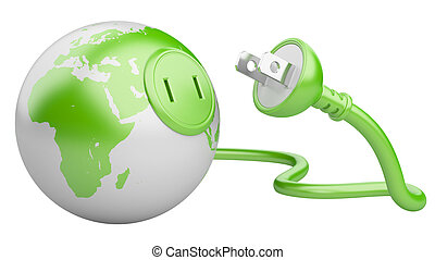 green energy concept. green Earth with electric plug...