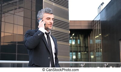 happy business man reaches success - Caucasian businessman...