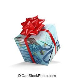 20 Euro Gift - A 20 Euro gift isolated on white.