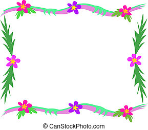 Frame of Tropical Leaves and Flowers
