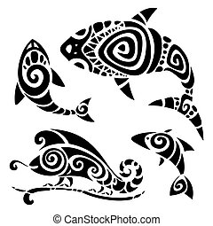 Tribal tattoo set - Polynesian tattoo Tribal pattern set...