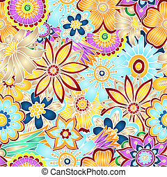 Hand drawn abstract vector floral background. - Unique hand...