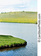 spring riverside - spring rural landscape with blooming...