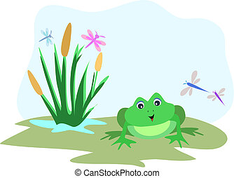 Frog with Dragonfly Sky Frame - Here is an open sky to add...