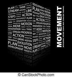 MOVEMENT. Word cloud concept illustration. Wordcloud...