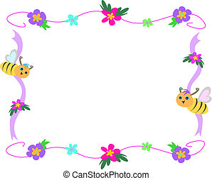 Bee Flower and Ribbon Frame - These bees are flying on a...